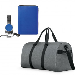 Custom Headphones, RFID Padfolio and Duffle Bag Set