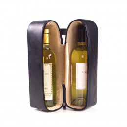 Double Leather Wine Bottle Carrying Case (Optional Engraving)