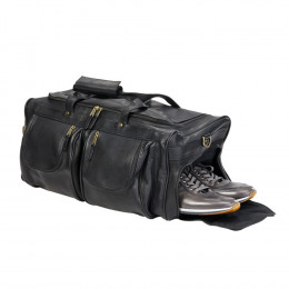 Custom XL Leather Duffel With Shoe Pocket