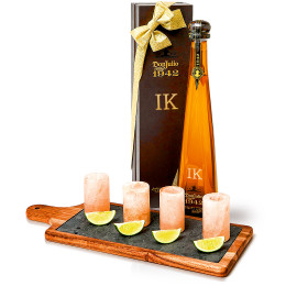 Don Julio 1942 Anejo Tequila Set with Pink Himalayan Salt Shot Glasses