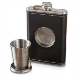 Personalized Folding Shot Glass & Flask - Leather - 8 oz
