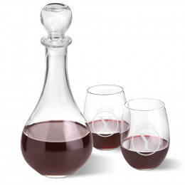 Personalized Wine Decanter with Two Stemless Wine Glasses
