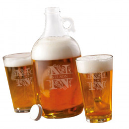 Personalized Growler Set with 2 Pub Glasses 64 oz.