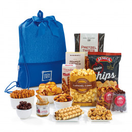 Gourmet Goodies Snack Pack with Personalized Drawstring Bag