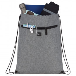 Custom Graphite Drawstring Sport Pack with Earbuds