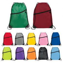 Custom Robin Drawstring Bag with Front Zip Pocket