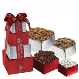 Salty Sweet Pretzel Gift Box Tower