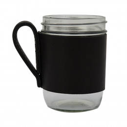 Custom Leather Sleeve with Glass Mason Jar