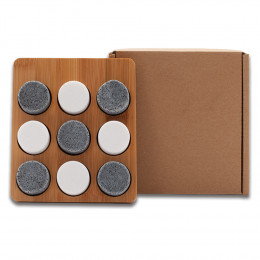 Custom Constrictor Bamboo Tic-Tac-Toe Game with Granite Playing Pieces