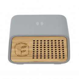 Custom Wireless Speaker and Charger with Bamboo Print