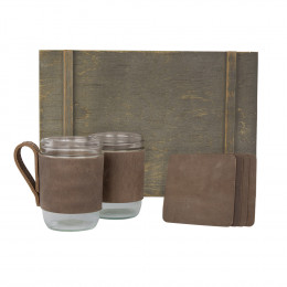 Custom Leather-Wrapped Glass Mugs and Leather Coasters Gift Set