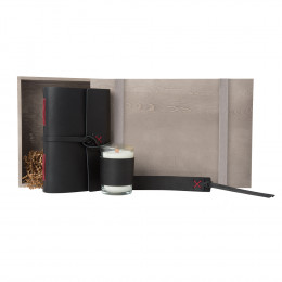 Custom Daily Meditations Leather Journal, Bookmark and Candle Gift Set
