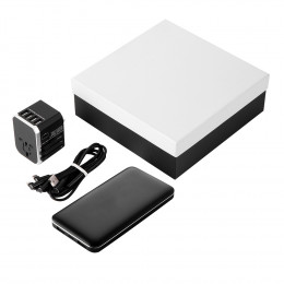 10,000 mAh Custom Power Bank With Universal Travel Adapter & 3-in-1 Cable Gift Set