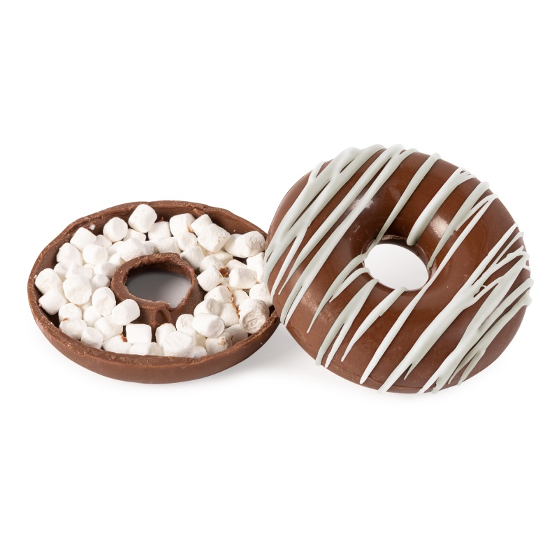 Custom Donut-Shaped Hot Chocolate Bomb with Holiday Drizzle
